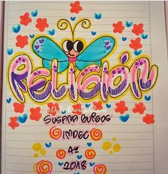 Religión Class Planner, Decorate Notebook, My Notebook, Border Design, Paper Toys, Letters And Numbers, Hand Lettering, Diy And Crafts, Religion