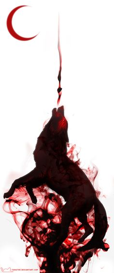 The wolf, the blood, the red moon as a star. Yep. Perfect for this story. [blood and smoke by =tanathe on deviantART]