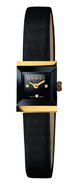 Gucci ~ Black Face Timepiece w Black Suede Strap