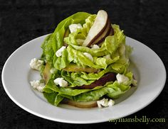 Salads - Stacked Butter Lettuce Salad with Pears and Taleggio Dressing Recipe