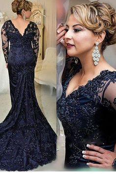 Sexy Long Mermaid Lace Prom Dresses Vintage Navy Blue Lace Mother of the Bride Dress Mother Of The Bride Dresses Long, Prom Dresses Long With Sleeves, Mothers Dresses, Dress Long, Mother Bride, Mermaid Prom Dresses Lace, Dress Prom, Lace Mermaid, Mermaid Style