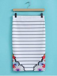 Stylish High Waisted Striped Floral Print Packet Buttock Women's Skirt