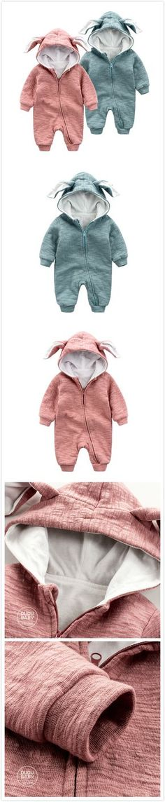 Rabbit Ears Infant toddler Baby Boy Girl Unisex Hooded Clothes Jumpsuit Romper Long Sleeve 4 Color 3-24Month For Autumn Winter