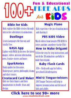 100+ FREE Fun & Educational APPS for KIDS http://madamedeals.com/free-kids-apps/ #free #apps #kids #inspireothers