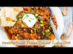 Sweet potato ground turkey chili is a healthy and quick gluten free dinner recipe that is full of black beans, corn, and lots of chili flavor!