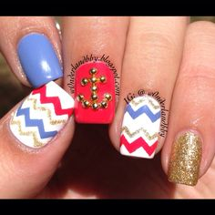 Cute nautical nail art with a studded anchor! All polishes used by CULT Cosmetics!