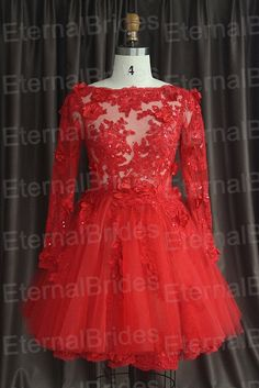 red floral lace cocktail dress/short prom dress/homecoming dress/ short ball gown on Etsy, $299.00