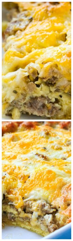 Sausage and Crescent Roll Casserole ~ So easy to make for a crowd... You'll find all the elements of a great breakfast in this one casserole- eggs, cheese, sausage, and crescent rolls.