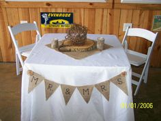 """""""Mr. & Mrs."""" burlap banner for sweatheart table made by Edy and Lou Ann."""