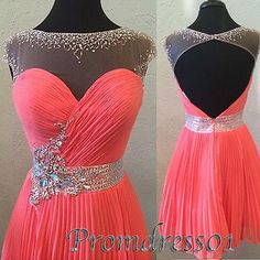 cute sequins coral tulle open back short prom dress - custom made ball gown, evening dresses for season 2015
