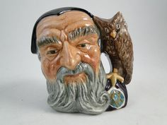 Vtg Royal Doulton Night Merlin Wizard Toby Mug Cup England D 6536 3.75 T Owl Old