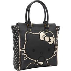 Loungefly Hello Kitty Black/Gold Emboss Stripe Double Handle Bag - eBags.com