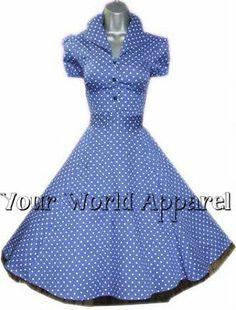 H R London Blue Polka Dot Pinup Swing 1950's Housewife Dress Vintage Rockabilly | eBay