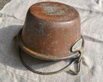 Old copper pot, copper pot, vintage copper pot, italian copper pot, large copper pot, old polenta copper pot, copper cookware, copper