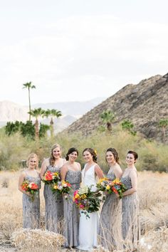 Grey Beaded Bridesmaid Gowns // Vibrant Jungle Inspired Palm Springs Wedding via TheELD.com Bridesmaid Gowns, Wedding Dresses, Avalon Hotel, Wedding Weekend, Palm Springs, Photo Booth, More Fun, Wedding Planner, Wedding Venues