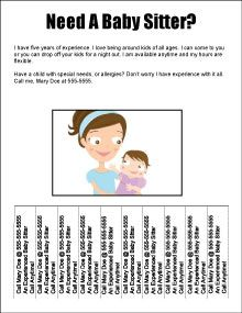 Free Babysitting Flyers, templates, ideas and samples. Sample text ...