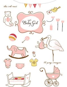CLIP ART Baby Girl for commercial and personal use por theinknest