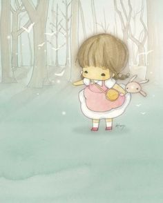 Amy Tim super cute ,kawaii and whimsical girl and bunny cartoon illustration.bit like my miyo and miy logo Cute Images, Cute Pictures, Image Deco, Cute Chibi, Kawaii Art, Illustrations And Posters, Whimsical Art, Picture Design, Cute Illustration