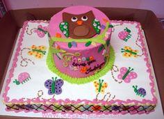 Owl Baby Shower Cake By Sugar Kneads Cakery #sugarkneadscakery