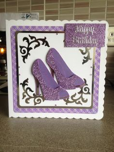 background petal stamp and shoe stamp by Chloe with wow powder, corner flourish xcut