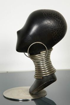 1930's Art Deco Ebony Woman's Head by Karl Haguenauer image 4