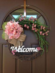 Everyday Wreath - Spring Wreath -Hydrangea Wreath - Miniature Roses Wreath - Door Decor - Summer Monogrammed Wreath - Boxwood Grapevine - Decoration Fireplace Garden art ideas Home accessories Diy Fall Wreath, Summer Wreath, Spring Wreaths, Wreath Ideas, Double Door Wreaths, Front Door Wreaths, Mesh Wreaths, Hydrangea Wreath, Tulip Wreath