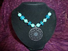 Silver Swirl, Turquoise & Opal Green Necklace £8.00