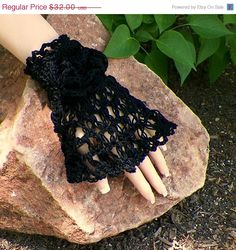 Black Friday Sale Gothic Lace Glove Cuffs by wildirishrosecrochet