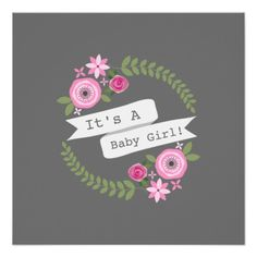 Hot Pink Floral Wreath & Banner Girl Baby Shower Invitations