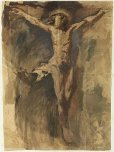 25Pablo Picasso (Málaga 1881-Mougins, 1973), Christ on the Cross, 1896-7. Oil and charcoal on paper, 73.5 x 54.4 cm. Barcelona, Museu Picasso, donated by Pablo Picasso, 1970, MPB 110 049. Museu Picasso, Barcelona / Gasull