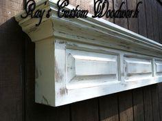 Distressed shelf - Raised panel fireplace mantel shelf - headboard floating wall shelf on Etsy, $189.99