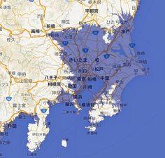 青いところは水没するエリア。東京神奈川埼玉千葉で水没するエリアがあるとわかる。