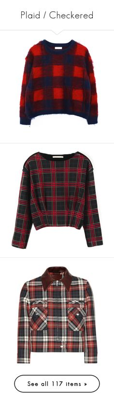 """""""Plaid / Checkered"""" by neverland-is-just-a-dream-away ❤ liked on Polyvore featuring tops, sweaters, chicnova, sweater pullover, red pullover, plaid sweater, tartan sweater, red long sleeve top, shirts and jumpers"""