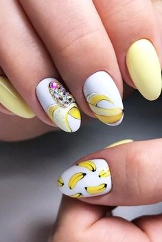 Summer Nails Design With Banana Art Easy, cute and fun summer nail designs are waiting for you to get inspired with. Make sure that you greet the beach season right! Cute Summer Nail Designs, Easter Nail Designs, Short Nail Designs, Halloween Nail Designs, Halloween Nails, Nail Art Designs, Nails Design, Summer Design, Salon Design