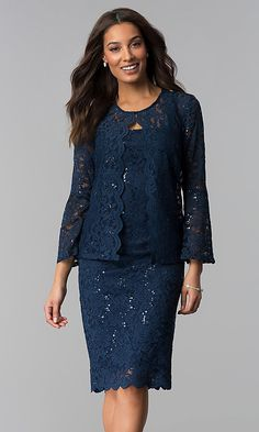 a35dec22cf Sequin-Lace Mother-of-the-Bride Dress with Jacket