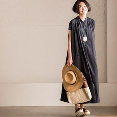 Korean Style Art Loose Pinch Pleated Dress Cotton Linen Dress Summer Women Clothes