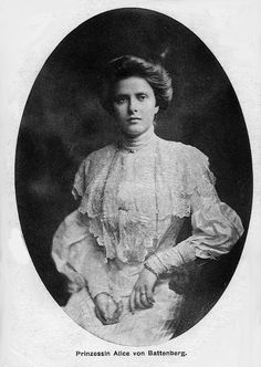 Victoria Alice Elizabeth Julia Marie  (1885-1969) was the oldest daughter of Victoria and Louis. She was suffering from congenital deafness and was later in life diagnosed with schizophrenia. She was married to Prince Andrew of Greece and Denmark and together they had 5 children: 1. Margarita 2. Theodora 3. Cecilia 4. Sofia 5. Filippos (the husband of Queen Elizabeth II)