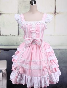 Pink And White Sleeveless Bow Bandage Sweet Lolita Dress - Lolitashow.com