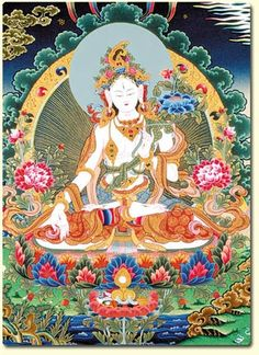 White Tara - Compassionate Mother of Long Life Thangka Altar Card is a x Laminated Buddhist Deity Card to be used as a meditation tool of sacred art. Buddhist Symbols, Buddhist Art, Tibetan Art, Tibetan Buddhism, Thangka Painting, Mudras, Spiritual Beliefs, 17th Century Art, Gautama Buddha