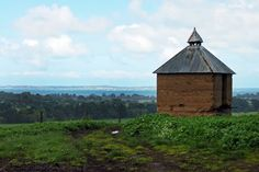 Chickory Kiln Built by the Mulready family on their farm. This was used to dry the chicory roots. Westernport Bay is in the background Chicory Root, Phillips Island, Acre, Roots, Cabin, House Styles, World, Building, Cabins