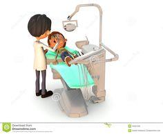 Muchacho de la historieta que consigue un examen dental.