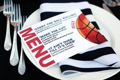 Awesome menu card with wording tying into the basketball Bar Mitzvah theme!   MitzvahMarket.com