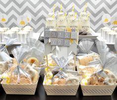 Sweet treat favors - yellow & gray elephant themed party
