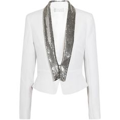 Azzaro Chainmail-trimmed crepe jacket found on Polyvore
