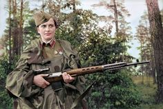 Soviet sniper, Lyudmila Pavlichenko who, by the end of World War II, was credited with 309 kills (which included 36 enemy snipers), making her the most successful female sniper in history.   (armed here with a Tokarev SVT-40 semi-automatic (3.5X) rifle)
