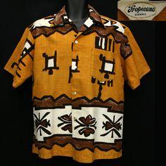 Online vintage clothing military surplus and retro fashion store. Hawaiian Wear, Vintage Hawaiian Shirts, Mens Hawaiian Shirts, Vintage Shirts, Vintage Outfits, Kimono Shirt, Shirt Dress, Tribal Shirt