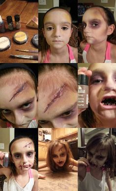 Zombie makeup step by step by mesha sanchez using Ben Nye theatrical Cream Makeup. Kids Zombie Makeup, Zombie Makeup Tutorials, Zombie Kid, Zombie Walk, Scary Makeup, Zombie Halloween Makeup, Diy Halloween Costumes For Women, Halloween Cosplay, Scary Halloween