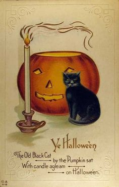 Ye Hallowe'en The Old Black Cat ~ by the Pumpkin sat With Candle agleam ~ on Hallowe'en Turn of the Century postcard from my collection Retro Halloween, Halloween Chat Noir, Vintage Halloween Cards, Halloween Prints, Halloween Pictures, Vintage Holiday, Holidays Halloween, Spooky Halloween, Vintage Cards