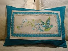 Embroidered Quilt block Cushion Humingbird. From secretsof embroidery designs for sale