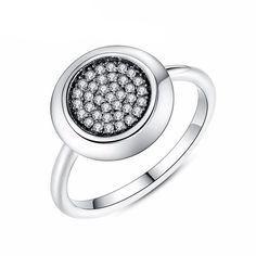Round Shaped Ring Silver Color High Quality Crystals Rings f